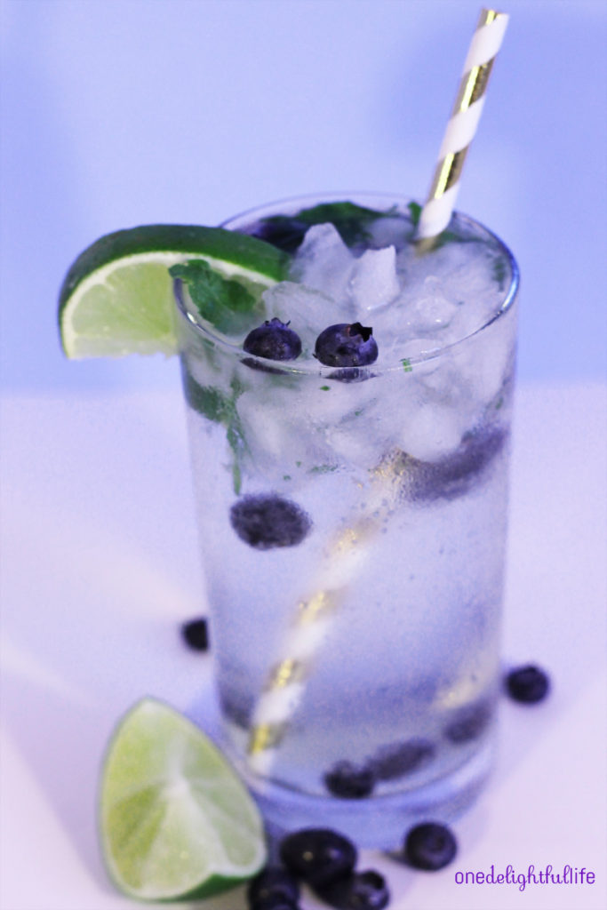Cool down on a summer day with this refreshing blueberry vanilla mint mojito.