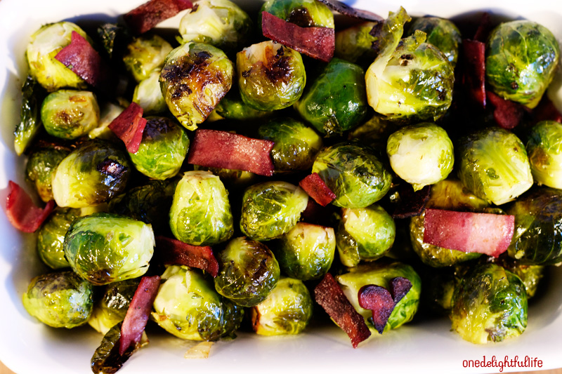 Roasted Brussels Sprouts with Turkey Bacon and Balsamic