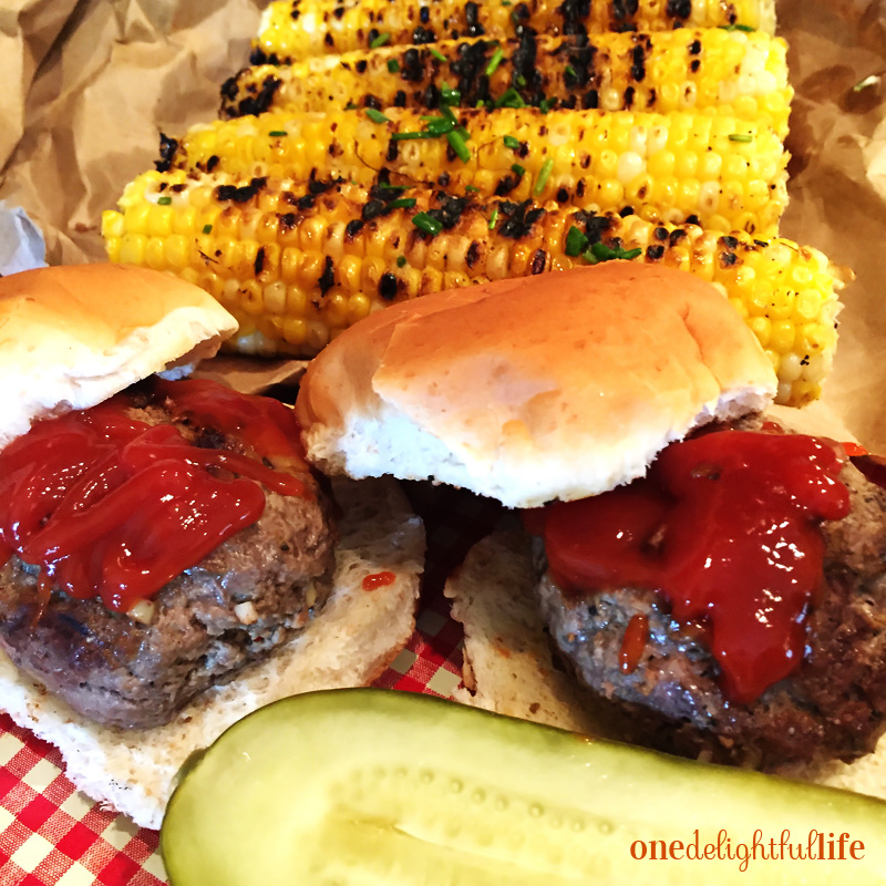 Indoor Grilled Corn with White Cheddar Stuffed Sliders