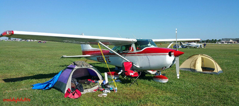 Not many planes left during the final hours of Oshkosh 2016, but this image gives an idea of where you can set up your tent(s) after arrival.