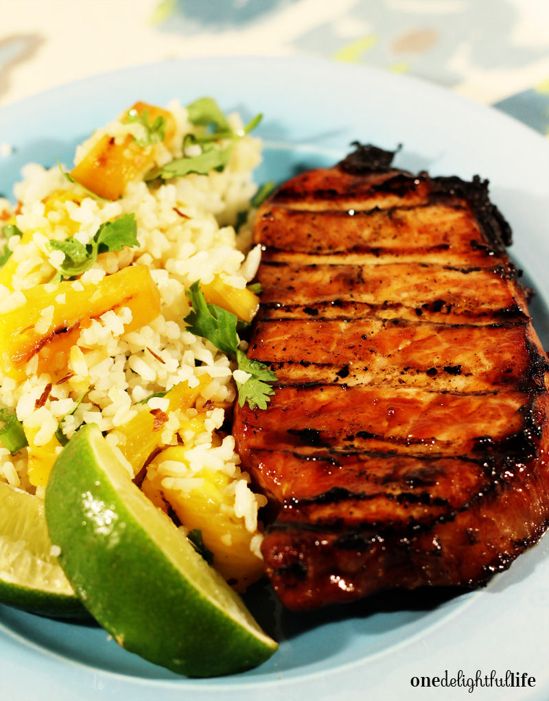 Apple Wood Smoked Teriyaki Pork Loin with Grilled Pineapple and Cilantro Rice
