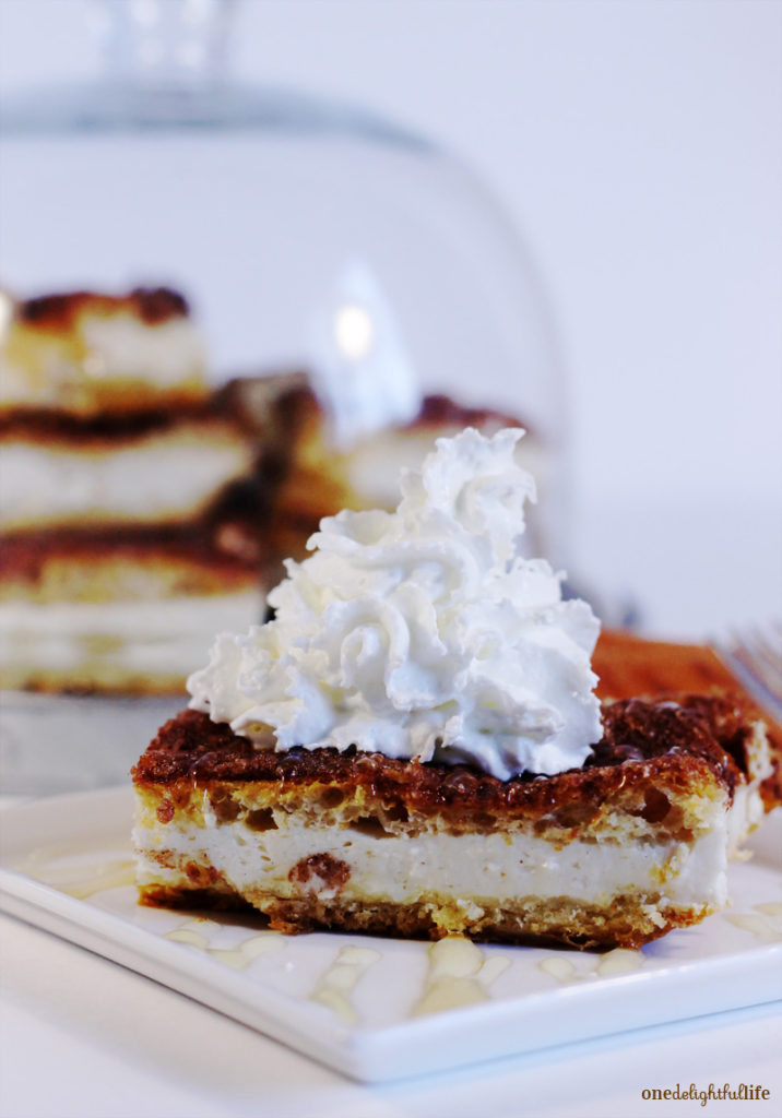 Low-Fat Sopapilla Cheesecake Bars with Honey Drizzle