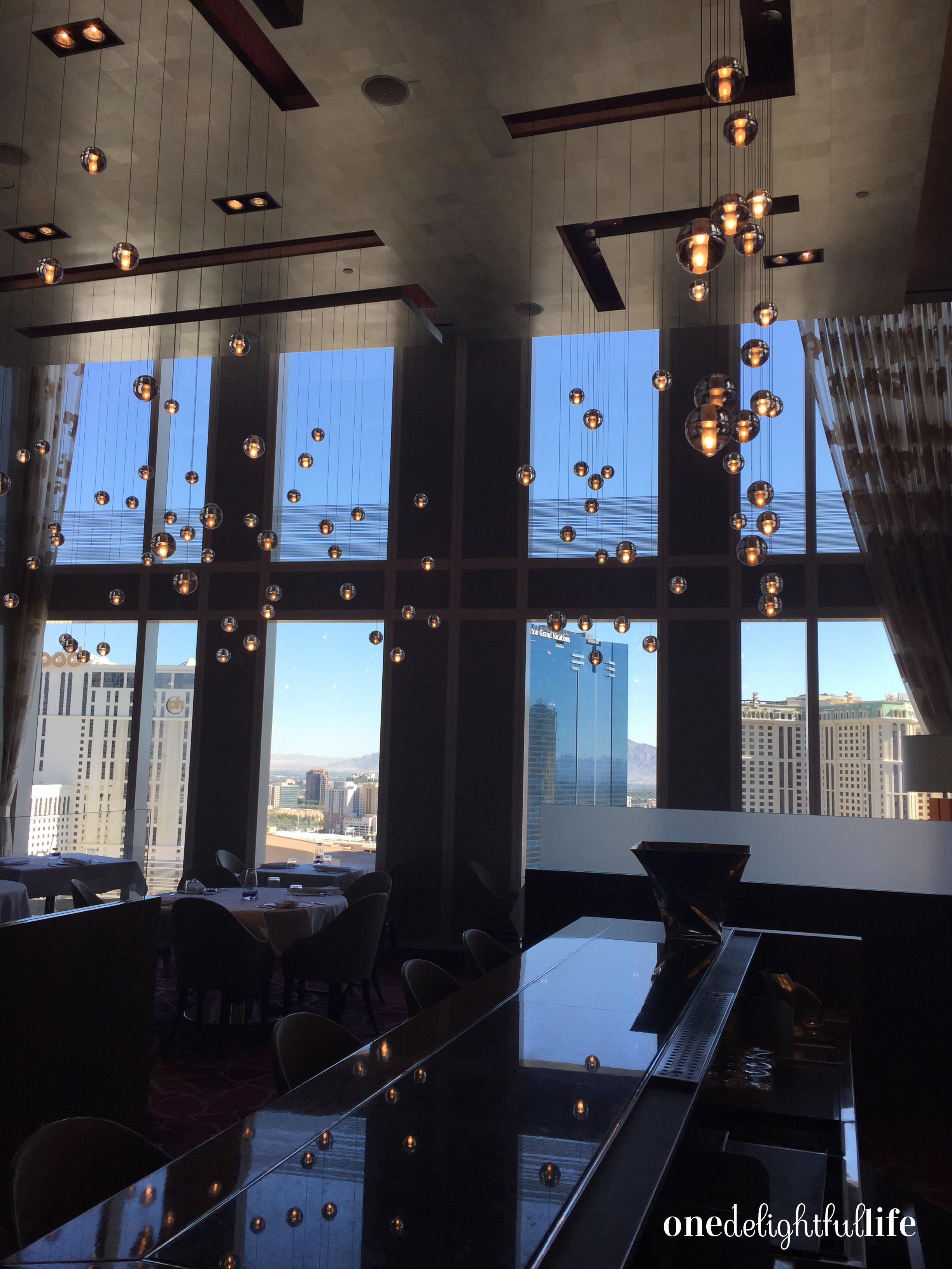 Sometimes it's fun to leave the Bellagio and check out other hotels and features on The Strip. This photo was taken inside the Mandarin Oriental hotel restaurant, a stop on the Bellagio free tram.