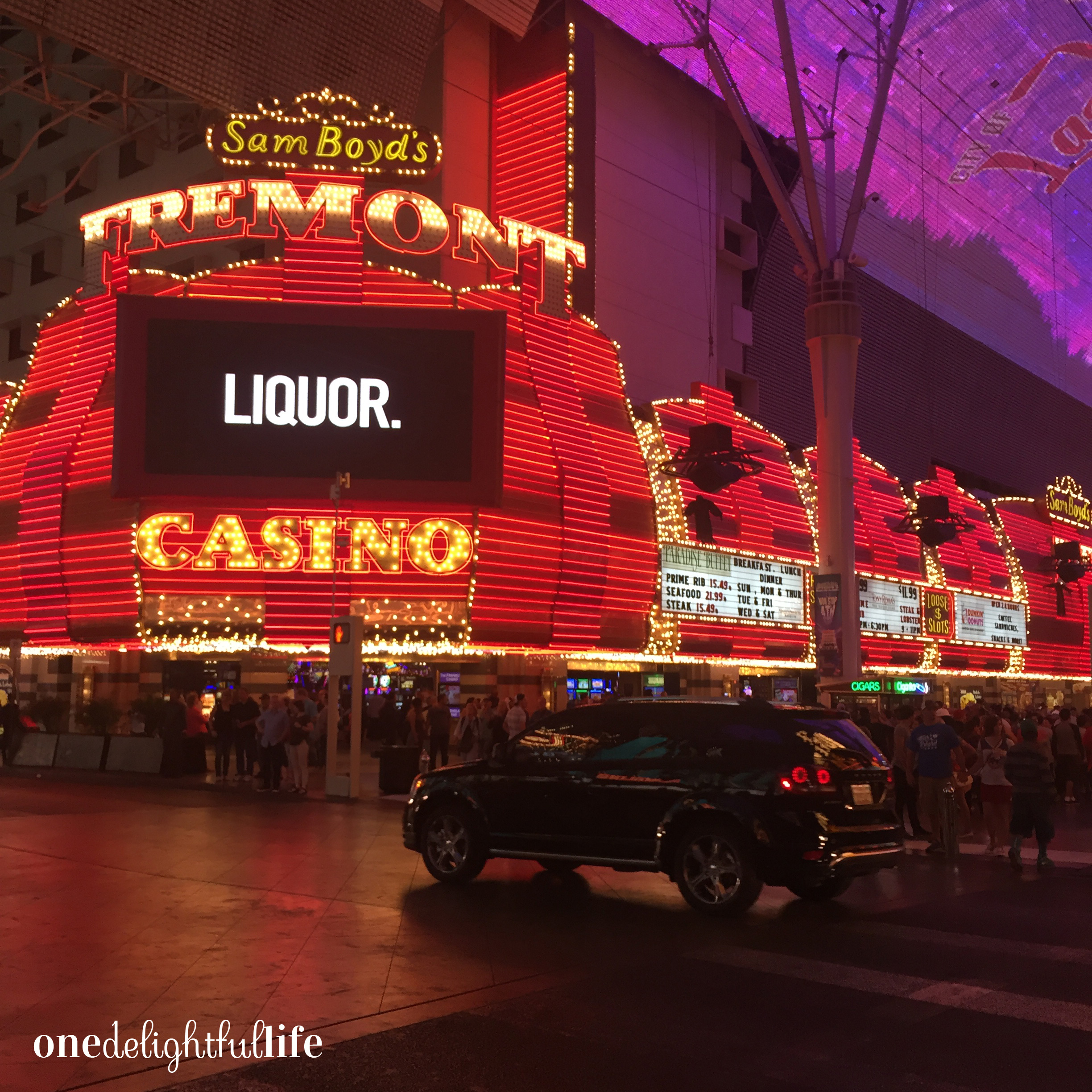 Head to Old Vegas (Freemont Street) to enjoy cheaper bar drinks and easy access to gambling tables. This LED sign seems to sum up Vegas pretty well, don't ya think?