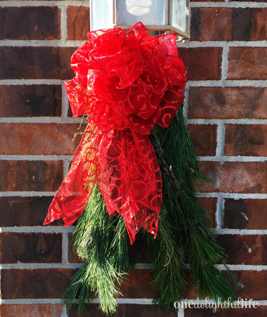 How to Make Evergreen Christmas Swag for Garage Sconces