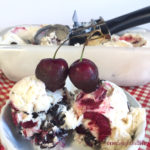 Creamy No-Churn Vanilla Ice Cream with Cherries and Chocolate