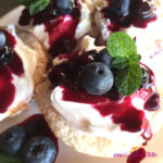 Angel Food Cupcakes with Vanilla Blueberry Sauce