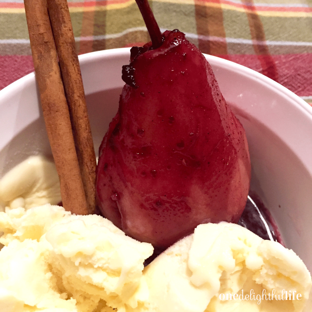 Decadent Poached Pears made with Cabernet and Apple Cider